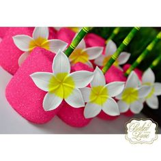Sparkly Hot Pink Marshmallow Pops with Hawaiian Flower