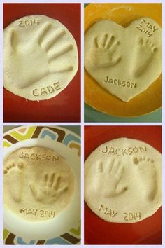 Dough hand & feet keepsakes. 1/2 cup salt, 1/2 cup flour, 1/4 cup (give or take) water. Knead until dough forms. Make impression. Bake at 200 for 3 hours