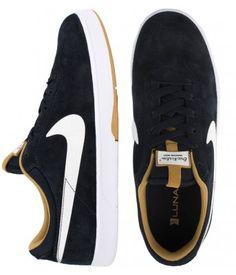 Nike SB Eric Koston Shoes - Dark Obsidian/White-Metallic Gold $77.00 #nikesb #koston