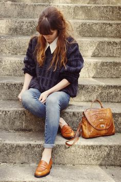 oversized sweater and cropped denims