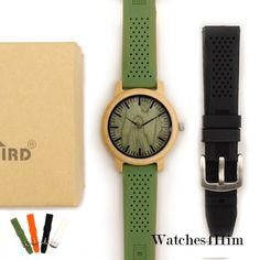 Cheap watch f, Buy Quality watch for directly from China watches for men Suppliers: BOBO BIRD Bamboo Wooden Watches for Men Simple Wood Dial Face Quartz Watch with Green Silicone Strap Extra Band as Gift with Box Wooden Man, Orange Band, Wooden Watches For Men, Moda Casual, Leather Watch Bands, Wood Watch, Fasion, Bracelet Watch, Ebay