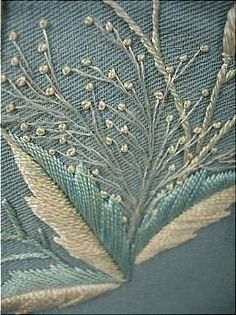 c. 1870's Trained Pale China Blue Wool Twill Morning Gown with Watteau Back and Two-Tone Embroidery: