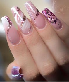 nail art primaverili # / nail art primaverili & acrylic nails for teens & pink nails ombre & accent nails index & nail design minimalist Pink Wedding Nails, Pink Ombre Nails, Wedding Nails Design, Pink Nail Designs, Beautiful Nail Designs, Acrylic Nail Designs, Crazy Nail Designs, Beautiful Beautiful, Ongles Bling Bling