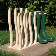 Luxury Wooden Wellie Boot Rack  2 3 4 5 6 7 by MadeInTheDukeries
