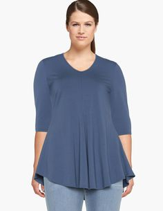 Doris Streich V-neck flared long line top in Blue