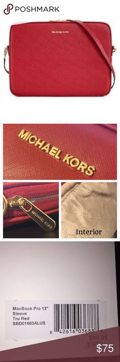 """MK Red Leather 13"""" MacBook Pro&Retina Case 100% authentic MICHAEL by Micheal Kors sleeve case for 13"""" Macbook Pro & Pro Retina. Should fit any 13"""" laptop. Red saffiano leather sleeve with gold hardware & accents. All gold accent pieces have """"Micheal Kors"""" monogrammed on them. Inside is beige Classic MK logo print.   Includes matching detachable shoulder strap.   Can be used as a laptop bag/case or even for an everyday bag. Great storage compartment, high quality item. This is an Apple Store…"""