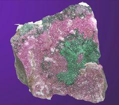 BRIGHT PINK COBALTOAN CALCITE & FOREST GREEN MALACHITE SPARKLING CRYSTALS CONGO