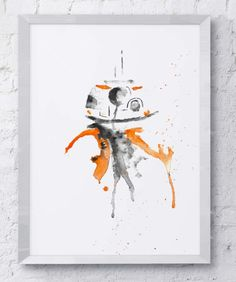 BB-8, Star Wars, Droid, Watercolor. Painting reprinted onto actual watercolor card, giving the original texture and feel of the painting itself.