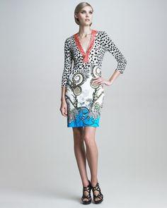 Coral-Beaded Mixed-Print Dress by Roberto Cavalli at Bergdorf Goodman.