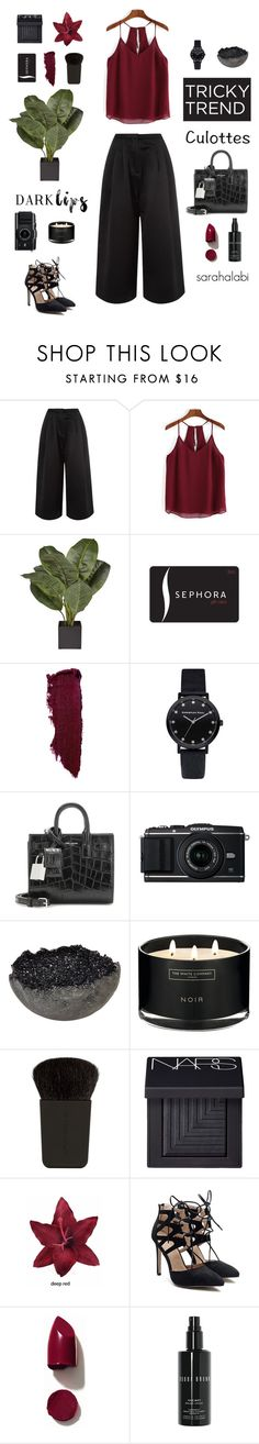 """""""culottes again."""" by sarsouur ❤ liked on Polyvore featuring Edit, Sephora Collection, Lipstick Queen, Yves Saint Laurent, Jess Panza, The White Company, Japonesque, NARS Cosmetics, Clips and Bobbi Brown Cosmetics"""