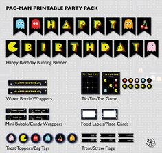 Pac-Man Birthday Party Printable INSTANT DOWNLOAD by Chileylimon on Etsy https://www.etsy.com/listing/262517790/pac-man-birthday-party-printable-instant