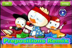 Preposition Remix ($9.99)provides practice with 20 of English most commons propositions. Users are able to adjust the number of prepositions played with on a session; adjust the type of feedback provided to the student, and whether or not to provide with additional cues such as a second audio production or written cues on the screen.