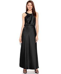 0d554dc958 Calvin Klein Sleeveless Satin Blouson Halter Gown Women - Dresses - Macy s
