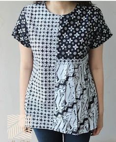Colorblocked Batik This with longer sleeves would suit me perfectly. Batik Fashion, Boho Fashion, Fashion Dresses, Blouse Batik, Batik Dress, Clothing Patterns, Dress Patterns, Sewing Patterns, Amarillis