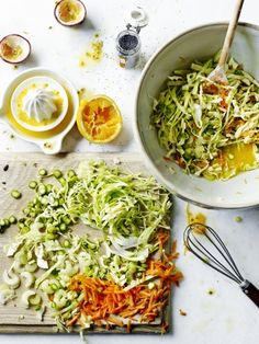 Learn how to make your own coleslaw with this easy to make, sweetheart cabbage slaw with passion fruit dressing recipe online at Jamie Oliver.