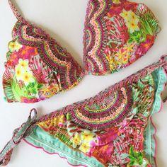Bikini Set Baru Swimwear Made In Colombia Hand Embroidered Swimsuit Size M…