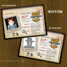 Detective Printable Birthday Package - Secret Agent Private Investigator Spy Birthday Party DIY Set - invitation, cupcake toppers, wrappers. $27.00, via Etsy.
