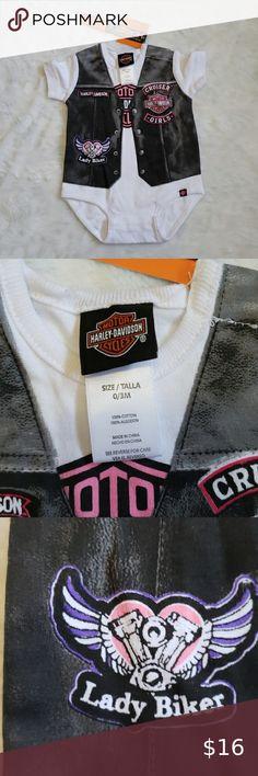 NWT Harley Davidson Infant Girls 2 PC Black Velour Warm Up Suit Set NEW
