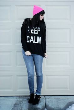 Keep Calm it's 2014. Bright colors and spikes outfit for the new year. Winter outfit from The Red Closet Diary blog.
