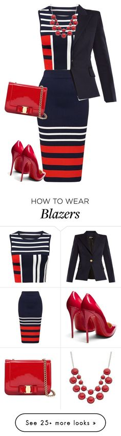 """""""outfit 7461"""" by natalyag on Polyvore featuring Balmain, Christian Louboutin and Salvatore Ferragamo"""