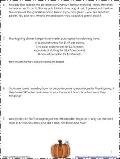 Thanksgiving Word Problems