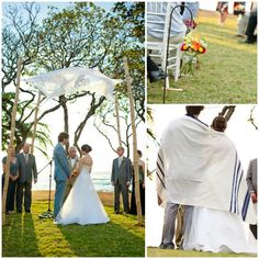 Beach Jewish Wedding, Bamboo Chuppah from A Brit and a Blonde - mazelmoments.com