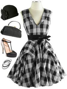 now in stock www.lebombshop.net  50s Style Black & White FLOUNCED GINGHAM Check PINUP Day Dress w/Draped BUSTLE