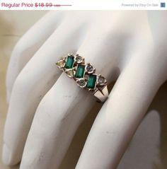 On Sale Vintage Silver Emerald Avon Ring by PaganCellarJewelry, $14.24