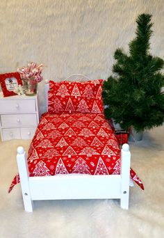 American Girl 18 inch Doll  CHRISTMAS Bedding by RibbonwoodCottage