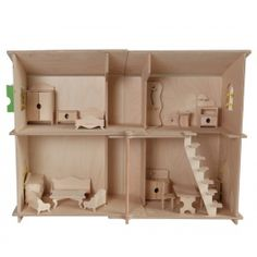 Modern two-storey self-assembly dollhouse with opening doors and windows. It can be painted and serve as a great kids' room decoration.