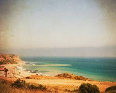 seaside photography, beach photo, Distant, Palos Verdes California cliffs blue green ocean waves rugged coast, nautical art print via Etsy