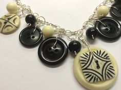 Vintage Button Choker in Black and Cream by BornAgainButtons