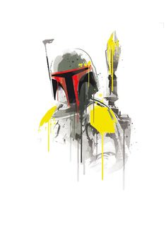 Watercolor boba fett star wars robot alternative poster scifi nerd movie poster…