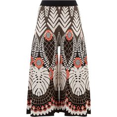 Temperley London Makani Knit Culottes (€765) ❤ liked on Polyvore featuring pants, capris, skirts, wide-leg pants, floral print pants, wide flare pants, high waisted trousers and high rise pants