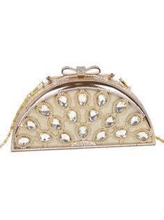 Gold Chain Diamond Peacock Clutch Bag - Sheinside.com