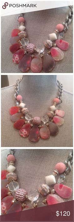 "Pink Flat Agate Necklace Multiple shades of pink flat agate stone, pink and silver details beads, glass crystals, rhinestones makes this necklace unique. Finished with a statement silver necklace. Approx 20"" long. Jewelry Necklaces"