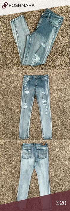 American Eagle Distressed Jeans Very nice pair of American Eagle Distressed Jeggings! Light, distressed wash with destruction on both legs and pockets. New without tags. I tried them on and they were too small. My loss, your gain! These would look great with your favorite pair of boots! Size 14 regular  Tags: jeans jeggings skinny destructed boots american eagle buckle miss me justin boots ariat cowgirl camo country girl southern girl western American Eagle Outfitters Jeans
