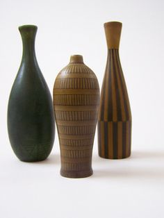 3 Gunnar Nylund for Nymolle Denmark Miniature Vases