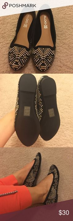 Beautiful black beaded flats These are never before worn black beaded flats. The beading is silver and gold, perfect for work. Aldo Shoes Flats & Loafers