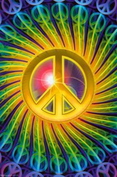 psychedelic Peace sign  with smaller peace signs coming out of it on curved rays