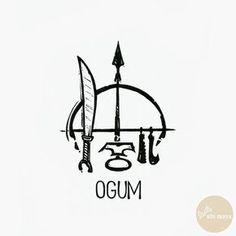 Set of iron tools symbolizing Ogun/Ogum, Orisha of metalwork, (by Ubi Maya, Brazil) Orishas Yoruba, Yoruba Religion, Yoruba People, Tattoo Project, Sacred Art, African Art, Deities, Occult, Small Tattoos