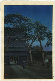 HASUI Japanese Woodblock Print Night at Sengakuji Ronin Graveyard 1931 | eBay