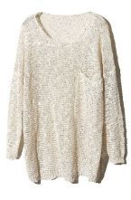 Apricot Long Sleeve Sequined Pullovers Sweater $43.23