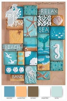 Beach Decor Images Romantic Cottage On The Beach Do you desire to escape to the seaside? These 10 Coastal Cookies will carry you away to beach for a deliciously artistic summer escape! Coastal Cookie Collage via Sugar Pearls Cakes & Bakes. Seashell Crafts, Beach Crafts, Diy Crafts, Beach Themed Crafts, Deco Marine, Beach Bathrooms, Beach Signs, Shell Art, Beach Cottages