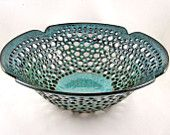 Pottery fruit bowl , fruit bowl , teal blue pottery , modern home decor , turquoise ceramic -in stock