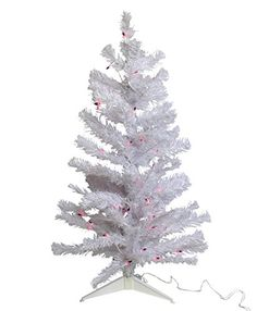 CC 3foot White Iridescent Pine Artificial Christmas Tree  PreLit 50 FUSCIA Lights * You can find out more details at the link of the image.