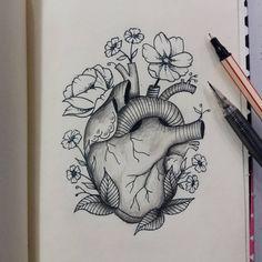 Desenho de coração florido. #desenho #drawing #coracao #flores #art #arte #pretoebranco