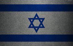 Download imagens Bandeira de Israel, 4K, textura de couro, Ásia, bandeiras do mundo, Israel