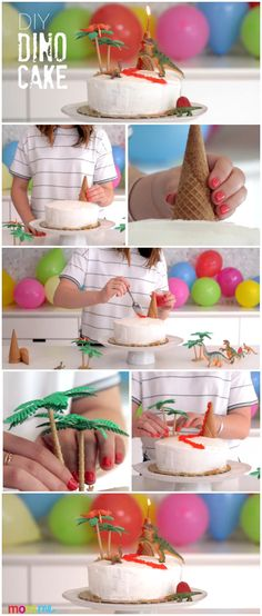 What kid wouldn't want a super cool dino cake for their birthday? For the next party DIY this awesome dinosaur treat! It's simple to do and will be the hit of the party.                                                                                                                                                                                 More