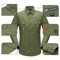 Mens Cotton Casual Solid Color Outdoor Turn-down Coolar Spring Autumn Long…